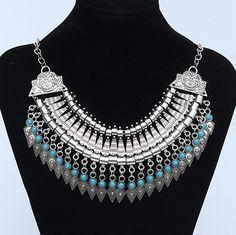 Vintage Coin Gypsy Ethnic Silver Bohemian Necklace