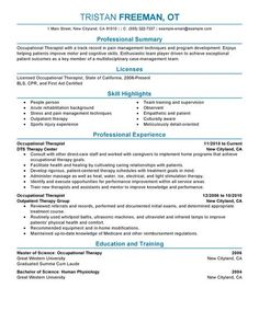 Sample Occupational Therapist Resume | Occupational Therapist Jobs ...
