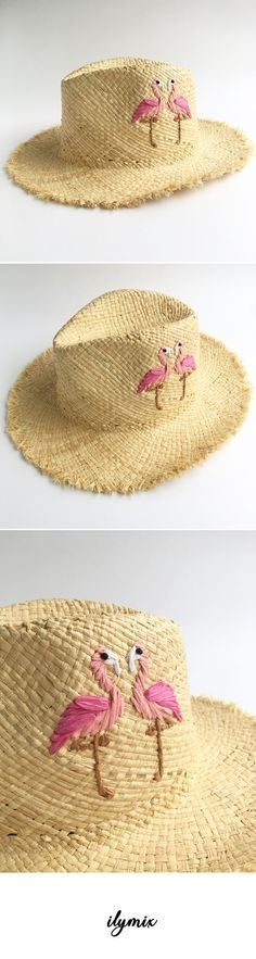 Flamingo embroidery straw sun hats #summer #beach