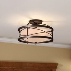 Rather than choose a simple lighting solution, pick one that build on your style. For a traditional look, this elegant two light semi flush mount is the perfect choice for your home. Blending simple e Hallway Light Fixtures, Farmhouse Light Fixtures, Farmhouse Lighting, Kitchen Lighting, Cool Light Fixtures, Farmhouse Decor, Semi Flush Ceiling Lights, Flush Mount Lighting, Flush Mount Ceiling