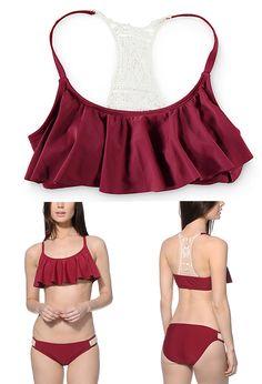 8294a8ed1f Trillium Burgundy Crochet Flounce Bikini Top and Crochet Panel Tab Side  Bikini Bottom Modest Bikini
