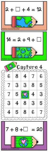 Math Coachs Corner: Earth Day Freebie--Three Addends Within 20. Vivid colors and graphics will enchant your kiddos in this holiday version of Capture 4. The strategy twist adds a problem solving component as students practice adding three numbers within 20, missing addends, and the meaning of the equal sign. A printable with story problems is included.