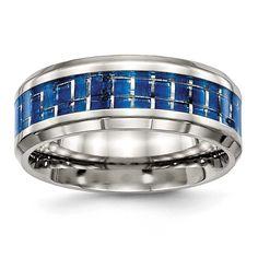 Chisel Polished Blue/White Carbon Fiber Inlay Ring - Sizes 7 -, Men's