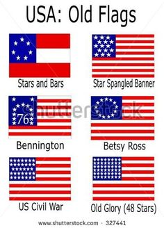 stock vector : Old USA Flags: Stars and Bars, Star Spangled Banner, Bennington, Betsy Ross, US Civil American Heritage Girls, American Flag, American History, American Pride, Us History, History Facts, Star Spangled Banner, I Love America, We Are The World