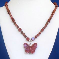 Brown Goldstone Necklace, Butterfly Pendant, Handmade Beaded Necklace, Goldstone…
