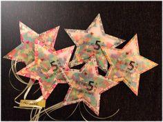 Invitation d'anniversaire pour le gouter d'une petite fille en forme d'étoile, remplie de confettis! DIY facile et pas cher qui ravira les petites fées...