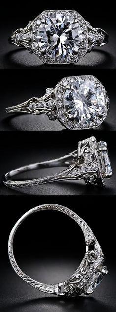 2.17 Carat & D color diamond Edwardian style engagement ring at Lang Antiques.