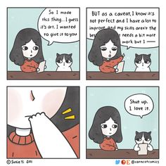 You're learning.⠀ You're growing.⠀ You're perfect.⠀ ⠀ (pic ⠀ I help with anxiety, depression, and trauma. ⠀ Contact me today to begin your healing journey (link in linktree). Comic 8, Cat Comics, Cat Sleeping, Cat Costumes, Red Riding Hood, Cute Funny Animals, Instagram Posts, Artist, Perfect Pic