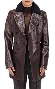 Maison Margiela Leather Double-Breasted Jacket With Faux-Fur Collar at Barneys New York