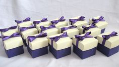 Purple Wedding Favour Boxes. Available in any colour and lids can be mixed and matched. #purpleweddingfavour #weddingfavourboxes