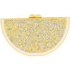 Pre-owned Kate Spade New York Via Limoni Lina Lemon Clutch ($250) ❤ liked on Polyvore featuring bags, handbags, clutches, yellow, preowned handbags, chain strap handbags, chain strap purse, locking purse and kiss-lock handbags