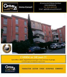 C Vendu en 102 jours !!!  Un Appartement de type 3 avec terrasse et garage. Saint Mître - Marseille 13013.