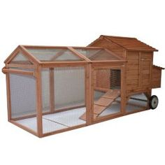 """Pawhut 96"""" Wheeled Tractor Hen House Chicken Coop w/ Run only $249.97 http://www.largechickencoops.com"""