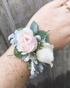 Wrist Corsage | Wedding Flowers Triple S Ranch | Wedding Inspiration  #corsages A rose and mixed foliage wrist corsage