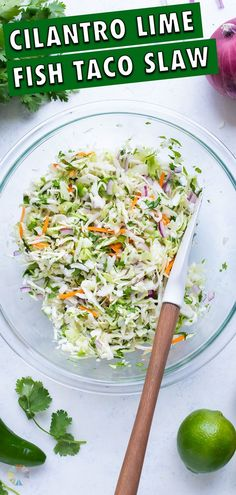 5 minutes · Vegan Gluten free · Serves 8 · Crisp, refreshing, and light, this Fish Taco Slaw recipe can be ready in as little as 5 minutes and uses no mayo! Serve this quick and easy cabbage slaw on tacos, in burrito bowls, or as a side dish. Side Dishes For Fish, Taco Side Dishes, Best Side Dishes, Healthy Side Dishes, Side Dish Recipes, Healthy Sides, Avocado Salad Recipes, Slaw Recipes, Healthy Salad Recipes