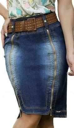 Saia Jeans com Zíper D'azul Moda Evangélica DZ1493
