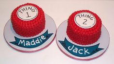 Thing 1 and Thing 2 cakes for the twins... YES!  Simple like this, or something more complicated?