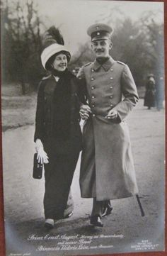 1912  Prince Ernst Augustus of Hanover with his wife Princess Victoria Luise of Prussia.  It was a love match.  They were third cousins once removed, a rather remote connection for the Royals.  She was the daughter of William II of Prussia.  Ernst Augustus was a first cousin of King George V of the United Kingdom,  Tsar Nicholas II of Russia, King Christian X of Denmark, King Haakon VII of Norway, and Constantine I of Greece.