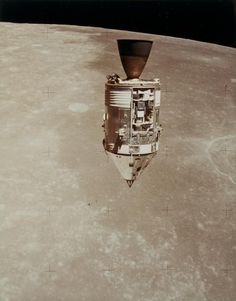 The CSM in lunar orbit, seen from the LM, Apollo 15, August 1971