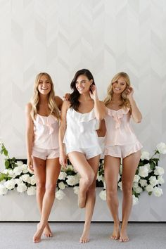 Bridal Party Getting Ready Outfit White Lace 66 Ideas Bridesmaid Get Ready Outfit, Bridesmaid Getting Ready, Bridal Party Getting Ready, Cami Set, Barefoot Girls, Shower Dresses, Best Lingerie, Satin Lingerie, Sleep Set