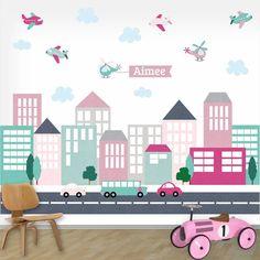 Muursticker XL City line girls met naam van het merk DecoDeco hier online kopen. Mooie muursticker met straat en auto Kids Rugs, Xl, City, Inspireren, Colouring, Home Decor, Lounge, Houses, Pictures