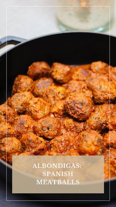 These albondigas are our favorite party appetizer. Albondigas are Spanish meatballs, so if you're looking for something different from typical Swedish meatballs, this recipe is for you. For a main course, just shape the albondigas into larger portions and serve with a salad or bread. #recipe #appetizer #meatball #spanishfood #parties