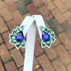Bella Campbell (@campbellian collection) on Instagram: #newmoon#earrings#tanzanite#greengarnet#diamondearrings#contemporaryfinejewelry