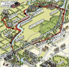 COLIN DEXTER - INSPECTOR MORSE - Wandelroute (11,3 km) met kaartje met enkele locaties uit Inspector Morse - Engelstalige website ♦ OXFORD