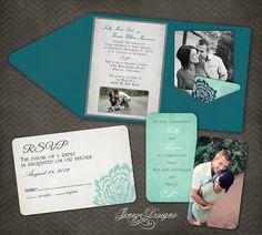 Custom Pocket Fold Wedding Invitations by Jeneze on Etsy, $35.00