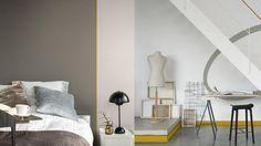 """Trend 2017: The Working Home  Ons huis wordt de plek waar we werken én wonen. Zones met contrasterende kleuren maken is de sleutel.""""Creëer ruimtes die vloeiend overlopen, waarbij je de laptop opent of de lichten uit doet. Of maak specifieke ruimtes met vormen of blokken van kleur die erop wijzen dat het werk gebieden zijn. Ik heb een sterk okerkleurige vierkant gebruikt om een bureau ruimte aan te geven, zonder er een gehele werkkamer van te maken."""" - Marieke Wielinga - Senior Color Designer"""