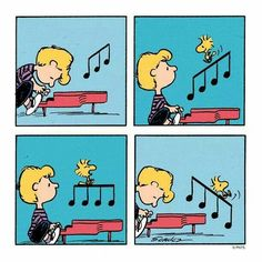 Schroeder and Woodstock. Charles Shulz, a Peanuts cartoon