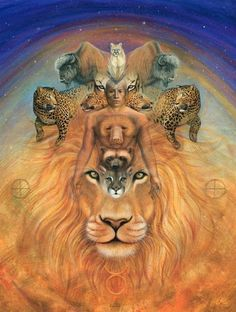 Amazing and soulful design. Ever see a piece of art and immediately know you should meet this person? Arte Alien, Alien Art, Animal Reiki, Lion Wallpaper, Power Animal, Spirited Art, Animal Totems, Visionary Art, Wildlife Art