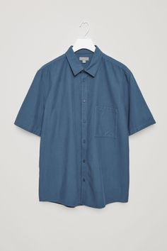 8a253de66a11 COS image 9 of Short-sleeve twill shirt in Steel Blue Cos Shorts