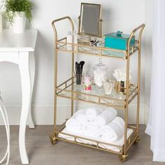 "Exceptional ""gold bar cart styling"" info is available on our website. Check it out and you wont be sorry you did. Metal Bar Cart, Gold Bar Cart, Bar Cart Styling, Bar Cart Decor, Ikea Bar Cart, Bathroom Cart, Bathroom Storage, Bathroom Table, Esthetician Room"