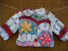 Funky Vintage Chenille Jacket - Awesome Vintage Buttons - Size 18 Months