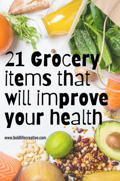 the top 21 grocery essentials for eating healthy you need to stock up on. easy healthy recipes linked to each item. #healthyeating #easyrecipes #healthyrecipes #groceryessentials #groceryshoppingonabduget