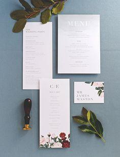 Painted Botanicals Wedding Invitation & Correspondence Set /
