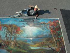 Hudson Valley Chalk Festival  2012- Street painting after Jasper Francis Crospey - Autumn on the Hudson Valley River - 1860  7' x 12