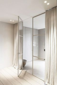 While a glass door competes tightly in a home décor realm, here's how to choose the right glass door design that'll fit your house. Crittall, Shower Panels, Steel Doors, Interiores Design, Windows And Doors, Steel Windows, Interior Inspiration, Style Inspiration, Interior Architecture