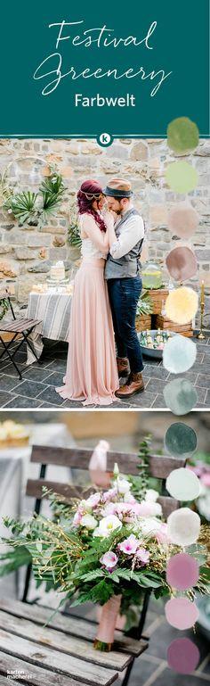 Festival und Greenery Hochzeiten lassen sich gut kombinieren. Grün und Rosa genauso wie Goldakzente passen perfekt zusammen. Findet hier weitere Hochzeitsideen rund um den grünen Trend.