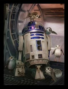 Star Wars Episode VIII Framed Poster R2-D2 & Porgs 45 x 33 cm - MangaShop.ro