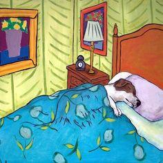 Jack Russell, jack russell art, jack russell print on tile, gift, modern folk art, dog tile, ceramic coaster, bedroom art