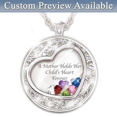 119627001 - Mother Holds Her Child's Heart Birthstone Pendant…