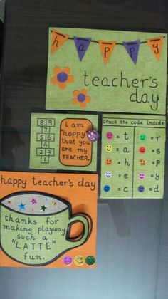 some more teachers day cards. Happy Teachers Day Card, Teachers Day Special, Teacher Cards, Teachers' Day, Picture Design, Teacher Appreciation, T 4, Making Ideas, Crafts For Kids