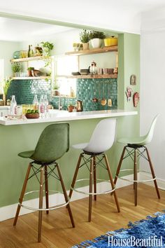 """The 4 Essential Ingredients of """"Jungalow"""" Style, Kitchen with Open Shelving, The wall between the kitchen and dining area is painted in Breakfast Room Green by Farrow & Ball. The Kitchen wall is painted in Glidden's Silver Maple. Boho Kitchen, New Kitchen, Kitchen Ideas, Kitchen Rustic, Kitchen Country, Kitchen Small, Kitchen Inspiration, Vintage Kitchen, Kitchen Paint Colors"""