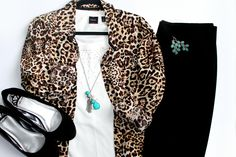 Leopard print and teal modest outfit with black pencil skirt; work outfit idea