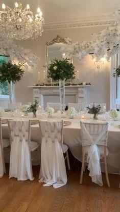 Long Table Wedding, Wedding Table Settings, Wedding Chairs, Setting Table, Table Clothes For Wedding, Wedding Tablecloths, Budget Wedding, White Wedding Decorations, Luxury Wedding Decor