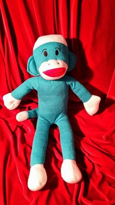 """>>> ENDING NOW >>> SAVE A TOY TODAY and MAKE A NEW FRIEND FOREVER <<< FREE SHIPPING <<< 17"""" Sock Monkey ~ Turquoise ~ Very Unique Color ~ Stuffed Animal ~ Plush Toy"""