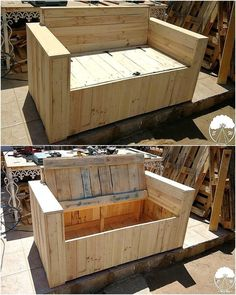 Use Pallet Wood Projects to Create Unique Home Decor Items – Hobby Is My Life Diy Pallet Sofa, Wooden Pallet Projects, Wood Pallet Furniture, Diy Outdoor Furniture, Recycled Furniture, Furniture Projects, Rustic Furniture, Furniture Showroom, Diy Projects
