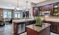 Open kitchen with glass-paned cabinets. Jacksonville, FL